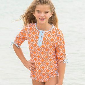 Cabana Life Summer Sky Orange Blue Quatrefoil Rash